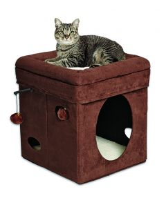 MID-WEST HOMES Curious Cat Cube Brown Suede Cat 1X1PC