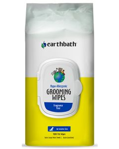 EARTHBATH Grooming Wipes HypoAllergenic Frgrnc Free Sft Pack Dog 1X100PK