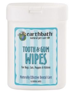 EARTHBATH Tooth and Gum Wipes with Lite Peppermint Flavour Dog 1X25PK