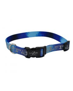 Lazer Brite Rflctv Open Design Adj Collar Blue Multi Bone Dog 1X1PC 5/8x12-18in