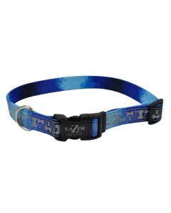Lazer Brite Rflctv Open Design Adj Collar Blue Multi Bone Dog 1X1PC 1x18-26in
