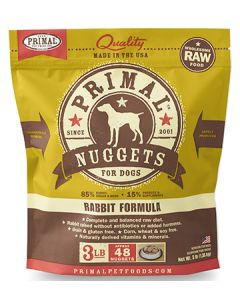 Primal Frozen Rabbit Nuggets Dog 1X3LB