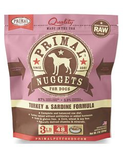 Primal Frozen Turkey and Sardine Nuggets Dog 1X3LB