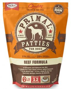 Primal Frozen Beef Patties Dog 1X6LB