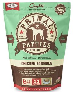 Primal Frozen Chicken Patties Dog 1X6LB