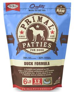 Primal Frozen Duck Patties Dog 1X6LB