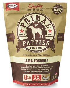 Primal Frozen Lamb Patties Dog 1X6LB