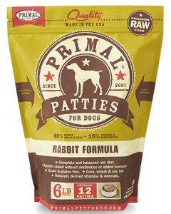 Primal Frozen Rabbit Patties Dog 1X6LB