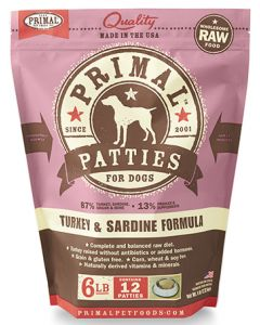 Primal Frozen Turkey and Sardine Patties Dog 1X6LB