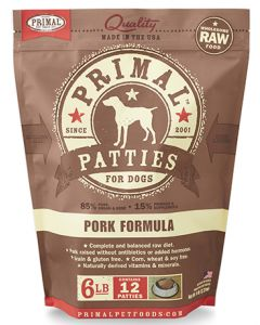 Primal Frozen Pork Patties Dog 1X6LB