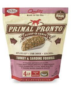 Primal Frozen Pronto Turkey and Sardine Dog 1X4LB