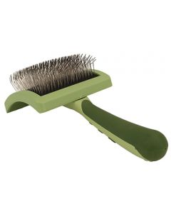 Safari Curved Firm Slicker Brush w Coated Tip Lng Hair M Dog 1X1PC